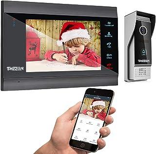 TMEZON 7 Inch Wireless/Wifi Smart IP Video Doorbell Intercom System Door Phone Entry System with 1x1200TVL Wired Door Came...
