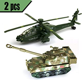 """GiftExpress 2-Pack 4.5"""" Military Army Diecast Toy Tank and 8"""" U.S. Army Attack Helicopter, Pullback Toy Vehicle, Army Military Model Toy, Assorted Colors & Models"""