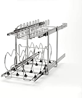 Rev-A-Shelf 5CW2-1222-CR Base Cabinet Easy Pullout 2 Tier Cookware Organizer