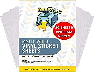 Printable Vinyl for Inkjet Printer (Matte White | Waterproof | 20 Sheets) - Inkjet Printable Vinyl Avoid Jams for Printers...