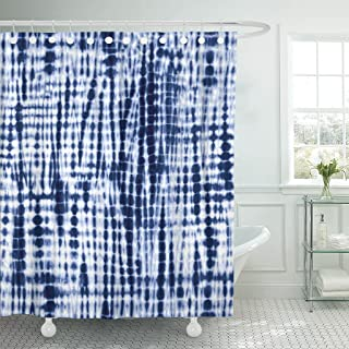 TOMPOP Shower Curtain Navy Shibori Indigo Blue Tie Dye Pattern Watercolor Batik Waterproof Polyester Fabric 72 x 72 Inches Set with Hooks