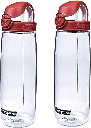 Nalgene Tritan On The Fly Water Bottle,  Clear w/ Red/White Set of 2,  24Oz