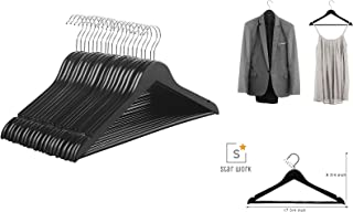 STAR WORK Solid Wood 360 Degree Swivel Chrome Garment Hangers with Non Slip Bar and Precisely Cut Notches Black Wooden Hanger (6)