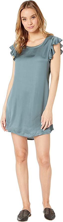 Silky Flutter Sleeve High-Low Shirttail Dress