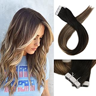"Full Shine 18"" Tape Hair Extensions Human Hair Dip Dyed Color #1B Off Black Fading to #6 Medium Brown and #27 Honey Blonde Seamless Remy Hair 100% Real Human Hair 20 Pieces 50 Grams Per Pack"