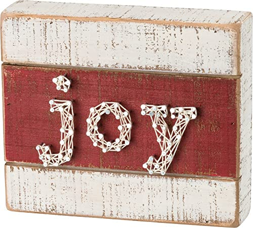 Primitives by Kathy String Art Joy - Red/White Christmas Box Sign