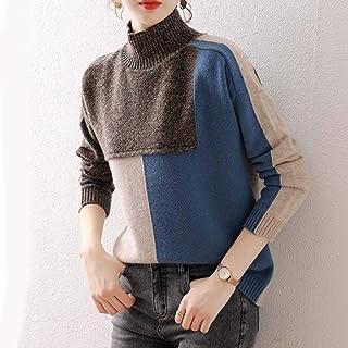 FOGUO Jersey De Lana para Mujer Suéter De Cuello para Mujer Ajuste Holgado para Otoño E Invierno Camisetas De Punto Grueso...