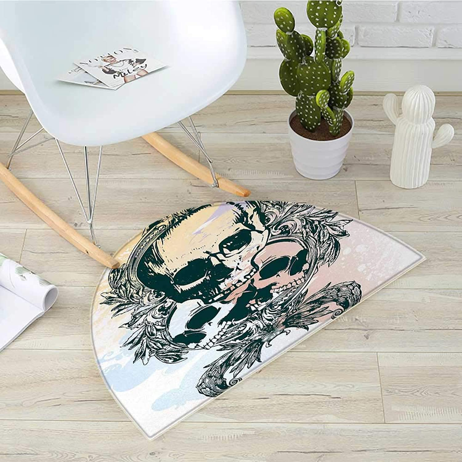 Skull Half Round Door mats Scary Deadly Rocker Skeleton Head Trio with Frames from Leaves Image Bathroom Mat H 39.3  xD 59  Emerald purplec Light Yellow