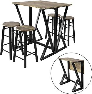 SoBuy stół z krzesłami regulowany stolik barowy stoły z krzesłami Brązowy zestaw 5-cz,OGT24-N