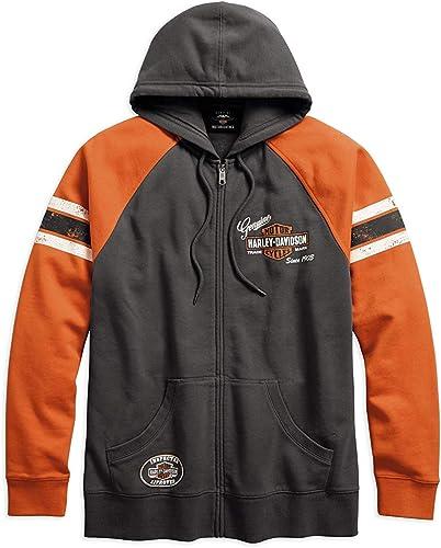 Harley-Davidson Men's Genuine Oil Can Full Zip Hooded Sweatshirt (Grey)
