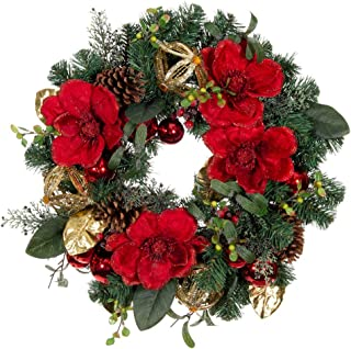 VILLAGE LIGHTING COMPANY [24 Inch Artificial Christmas Wreath] - Red Magnolia Collection - Red and Gold Decoration with Pinecones, Magnolia Flowers and Leaves, and Golden Ornaments