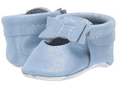 Freshly Picked Blue Gem Ballet Flat Bow Mocc (Infant/Toddler) (Blue/Chrome) Girl