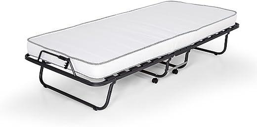 Gästebett Celine klappbar 90×200 cm mit stabilem Metall-Rahmen Klappbett Faltbett bis 100 kg incl. Matratze + Hülle, 90 x 200 cm