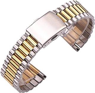 TSYGHP Reloj de acero inoxidable de las mujeres de plata de oro de 12 mm, 14 mm, 16 mm, 18 mm, 20 mm, correa de reloj de m...