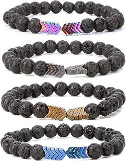 8mm Lava Rock Bead Arrow Diffuser Natural Stone Bracelet Yoga Beads Elastic Jewelry Set for Women Men