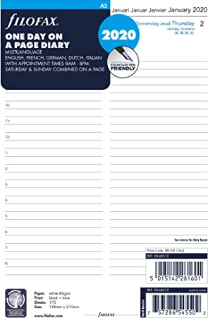 Filofax A5 Día por Página 5 Idiomas Citas 2021 Diario