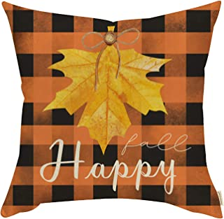 Fjfz Fall Farmhouse Decorative Throw Pillow Cover Happy Fall Maple Leaves Sign Orange Black Plaid Autumn Thanksgiving Holiday Decoration Home Décor Cotton Linen Cushion Case for Sofa Couch 18 x 18