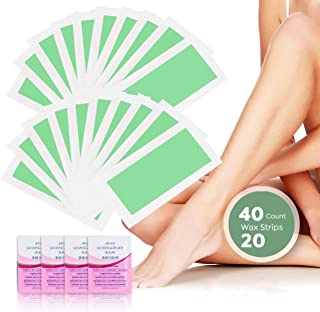 Reejoys Hair Removal Strips for Face Legs Underarms Brazilian Bikini Women Men, Waxing Strips with 40 Count Double Size Cold Wax Strips and 4 Post Cleaning Wipes
