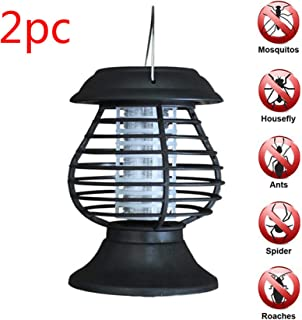 Naiflowers 2PC Outdoor Solar Power LED Light Garden Mosquito Repellent Bug Zapper Killer UV Lamp Insect Bugs Fly Pest Mosquito Light Lawn Garden Porch Patio Backyard Lawn Landscape Light