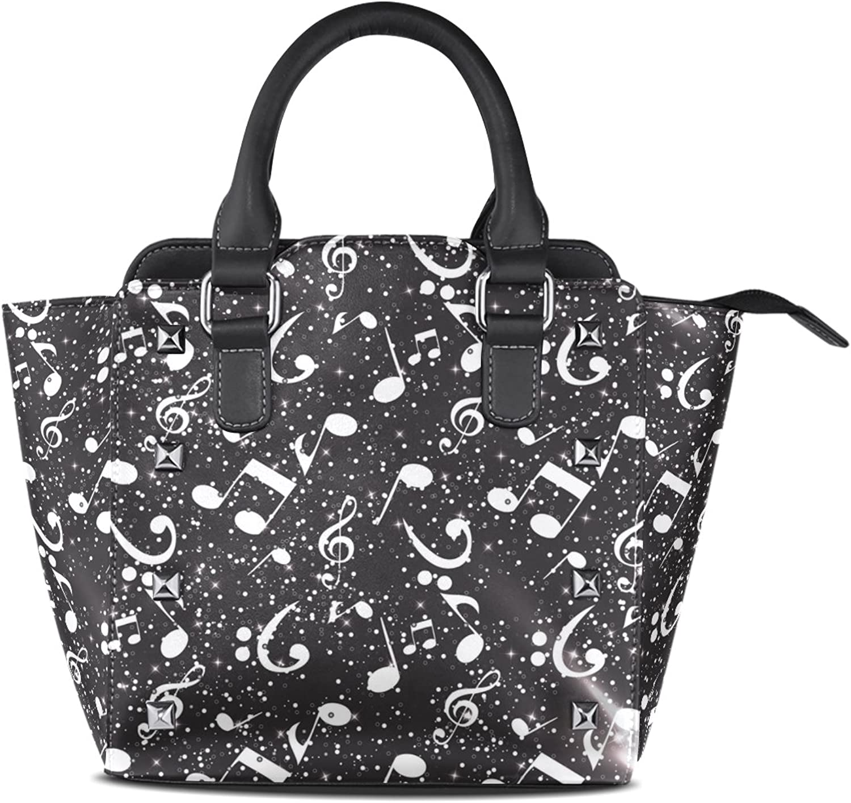 Women's Top Handle Satchel Handbag Black and White Abstract Music Ladies PU Leather Shoulder Bag Crossbody Bag