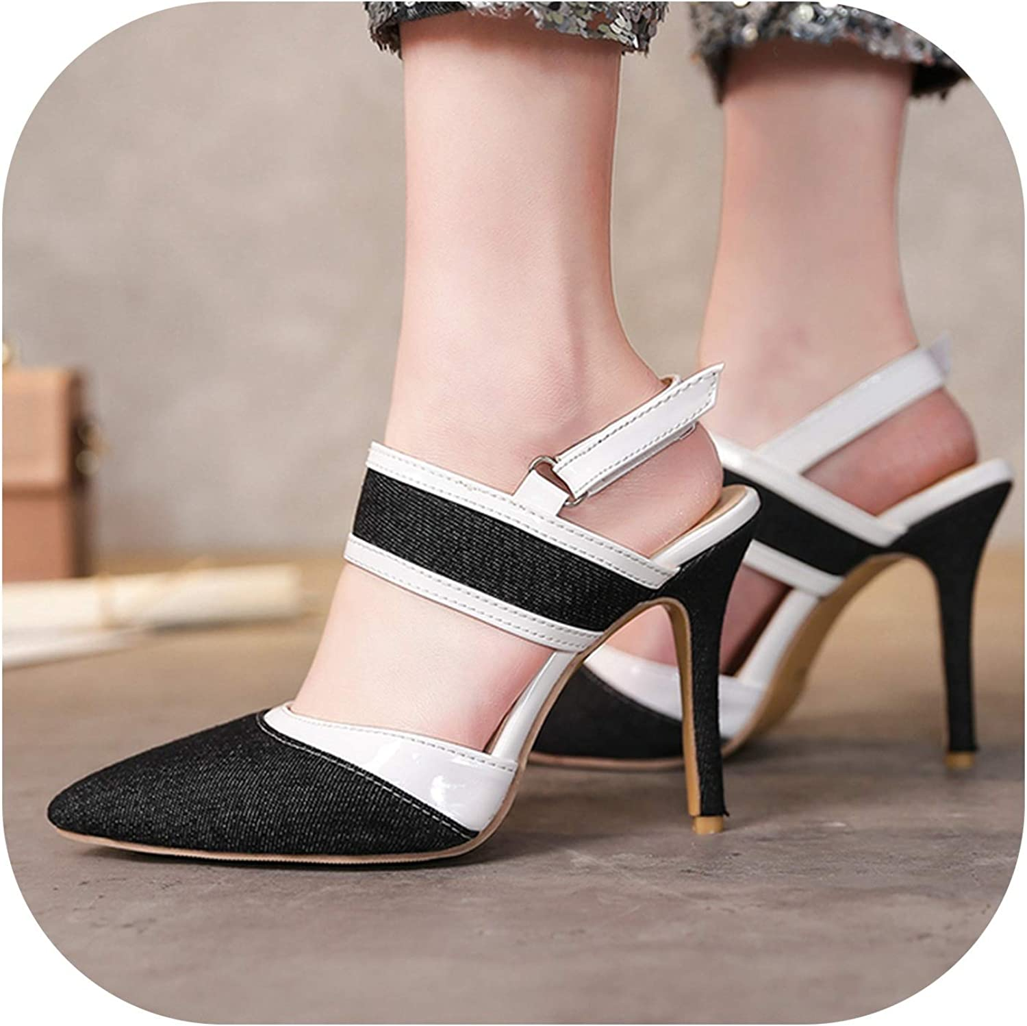 2019 Fashion Denim Sandals Women Sexy Thin High Heels Buckle Pointed Toe Party shoes Female Plus Size 34-43
