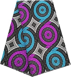 pqdaysun African Super Wax Print Fabric Ankara Fabric Wax Material 6 Yards for Sewing Dress Clothing (Orange)