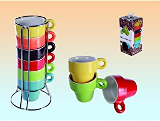 SalesFever Lot de 6 Tasses Espresso dans ce lutrin + geschenkbox Arc-en-Ciel en Couleur