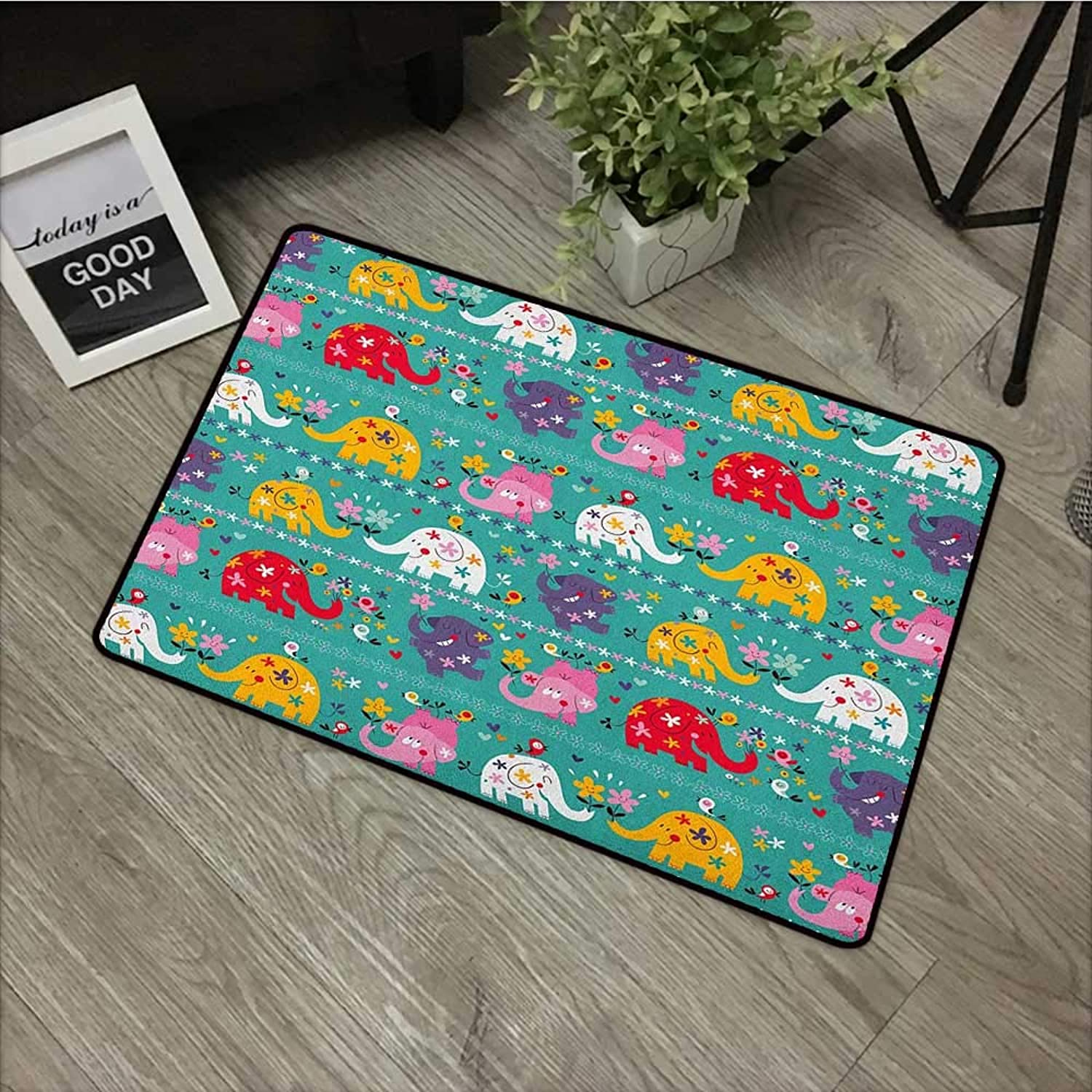 Hall mat W24 x L35 INCH Elephant Nursery,Joyful Kids Pattern Festive colorful Animals Happy Flowers Funny Nature, Multicolor with Non-Slip Backing Door Mat Carpet