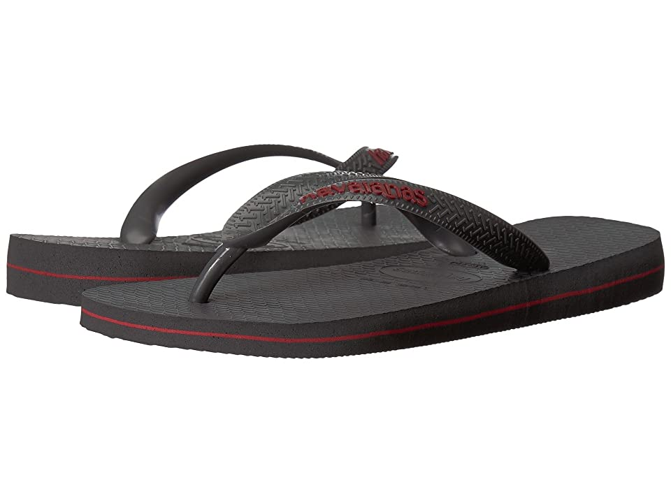 Havaianas Top Logo Filete Sandal (Dark Grey/Red) Men