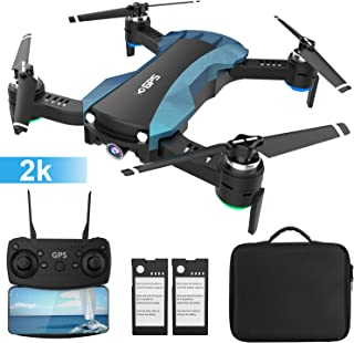HUKKKYVIT Foldable GPS Drone with Camera for Adults 2k 5G WiFi HD FPV, Quadcotper with Auto Return Home, Follow Me, Altitude Hold, Tap Fly Functions, Includes 2 Batteries and Carrying Case