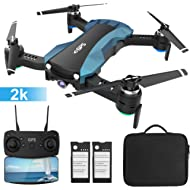 HUKKKYVIT Foldable GPS Drone with Camera for Adults 2k FHD FPV, Quadcotper with Auto Return Home,...