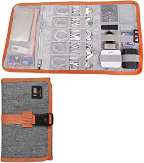 BUBM Travel Cable Organizer, Electronic Accessories Storage Bag Wrap for Cord, USB Flash Drive, Earphone, Memory Card and More,Gray
