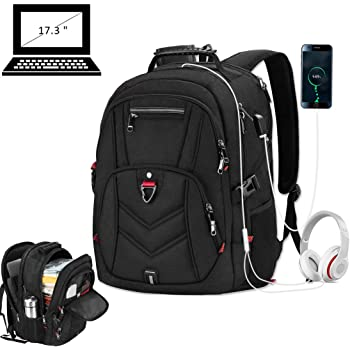 Laptop Backpack 17 Inch Business Travel Backpacks for Men Women Extra Large Waterproof TSA Anti Theft College School Bookbags with USB Charging Port 17.3 Gaming Computer Backpack 45L, Black