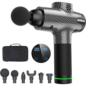 Massage Gun for Athletes, Portable Body Muscle Massager Professional Deep Tissue Massage Gun for Pain Relief with 6 Massage Heads 20 Speed High-Intensity Vibration Rechargeable Legiral Le3 Massage Gun