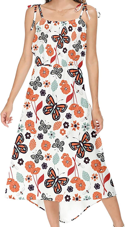Sun Dresses Women Summer Women's Summer Fashion Casual Round Neck Print Sleeveless Sling Dress Womens Dresses