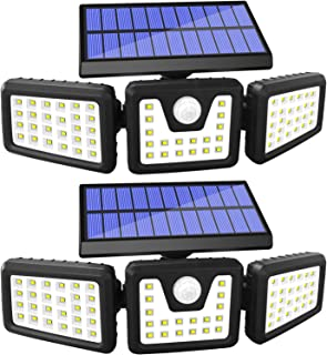 Solar Lights Outdoor Motion Sensor, 3 Adjustable Heads Solar Motion Sensor Light Outdoor, IP65 Waterproof Security Lights ...