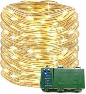 KOMOON Rope Lights 39 Ft 120 LED Battery Operated String Lights Waterproof Christmas Decorative Fairy Lights for Outdoor Indoor Party Patio Garden Yard Holiday Wedding (Warm White)