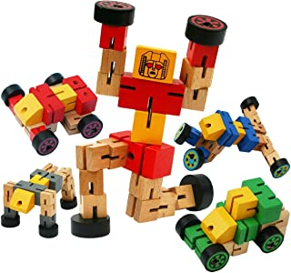 TOWO Wooden Transforming Vehicle Robot - Transfigures Toys for Travel Toys - Construction Vehicle Toys Building Set - Wooden Transforming Vehicle Toys 3 Year Old Boys Girls Red Colour