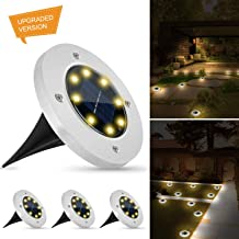Weepong Solar Disk Lights Outdoor New Upgrade 8 Led Solar Ground Lights IP65 Waterproof Solar Inground Lights with Light Sensor for Halloween Christmas Decoration Patio Lawn Yard (Warm White, 4 Pack)