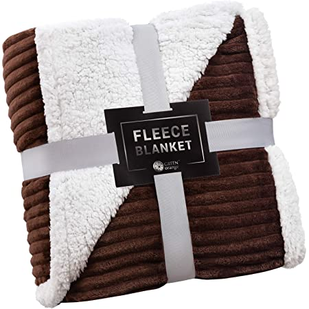 Plush Flannel Sherpa Throw Blanket Chevron 50 X 60 Super Soft Micro Fleece Reversible Tv Blanket For Couch Bed Brown Home Kitchen