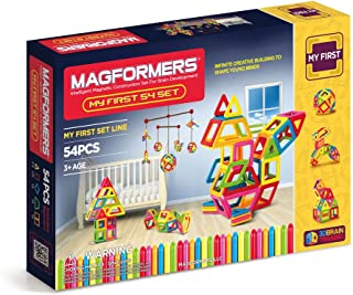 Magformers My First 54 Pieces, Rainbow Colors, Educational Magnetic Geometric Shapes Tiles Building STEM Toy Set Ages 3+