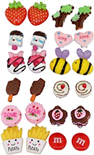 Big Size Generic Cute Lovely Cute Design Fashion Clip-on Earrings, Pack of 12 Pairs