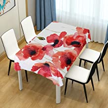 ASVIP WIHVE Poppy Floral Tablecloth Retangle 54 x 72 Inch, Watercolor Red Poppy Flowers Polyester Table Cover for Kitchen Dinning Tabletop Decoration
