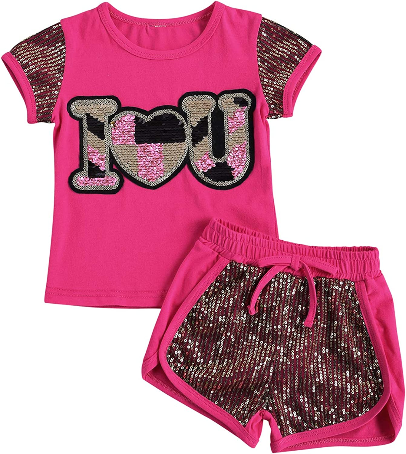 6M-7T Toddler Baby Girl Summer Cool Set Clothes T-Shirts New sales Sequins Max 76% OFF