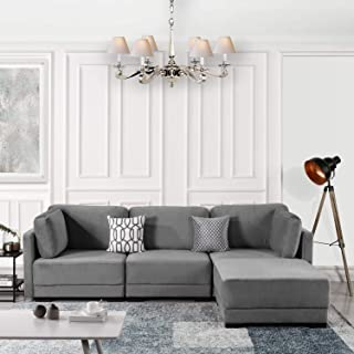 Modular Sectional Sofa Couch Convertible Sofa Sectional w/Reversible Chaise Ottoman, 3 Piece (Custom Couch Feature) Modern L-Shaped Sectional Sofa from 2Pc Loveseat to Chaise Ottoman Sofa, Gray