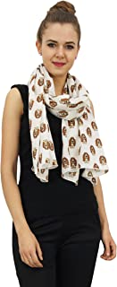 Women Beige Long Scarf Basset Hounds Dog Print 100% Cotton Lightweight, Shawl, Scarves Stole-28x72 Inches