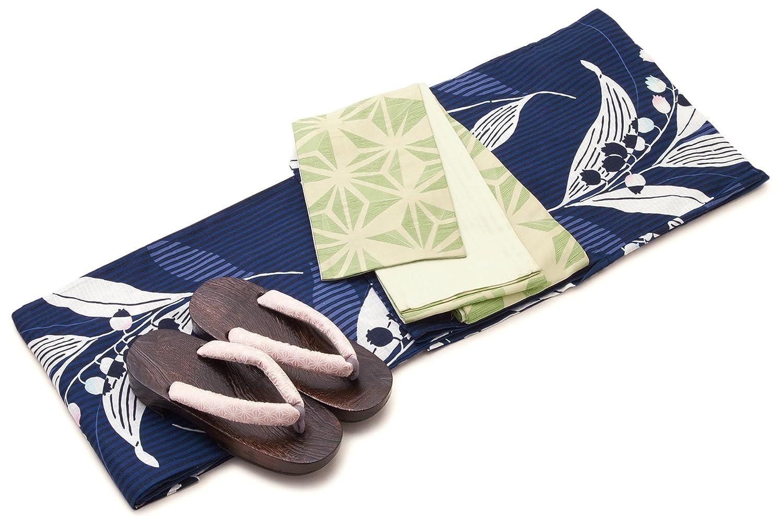 レディース浴衣セット[浴衣/半幅帯] bonheur saisons 紺色 ネイビー 黄緑色 鈴蘭 スズラン 花 縞 綿 紅梅織 浴衣セット 女性 フリーサイズ