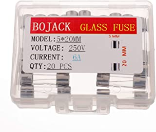 BOJACK 5x20mm 6A 6amp 250V 0.2x0.78 Inch F6AL250V Fast-Blow Glass Fuses(Pack of 20 Pcs)