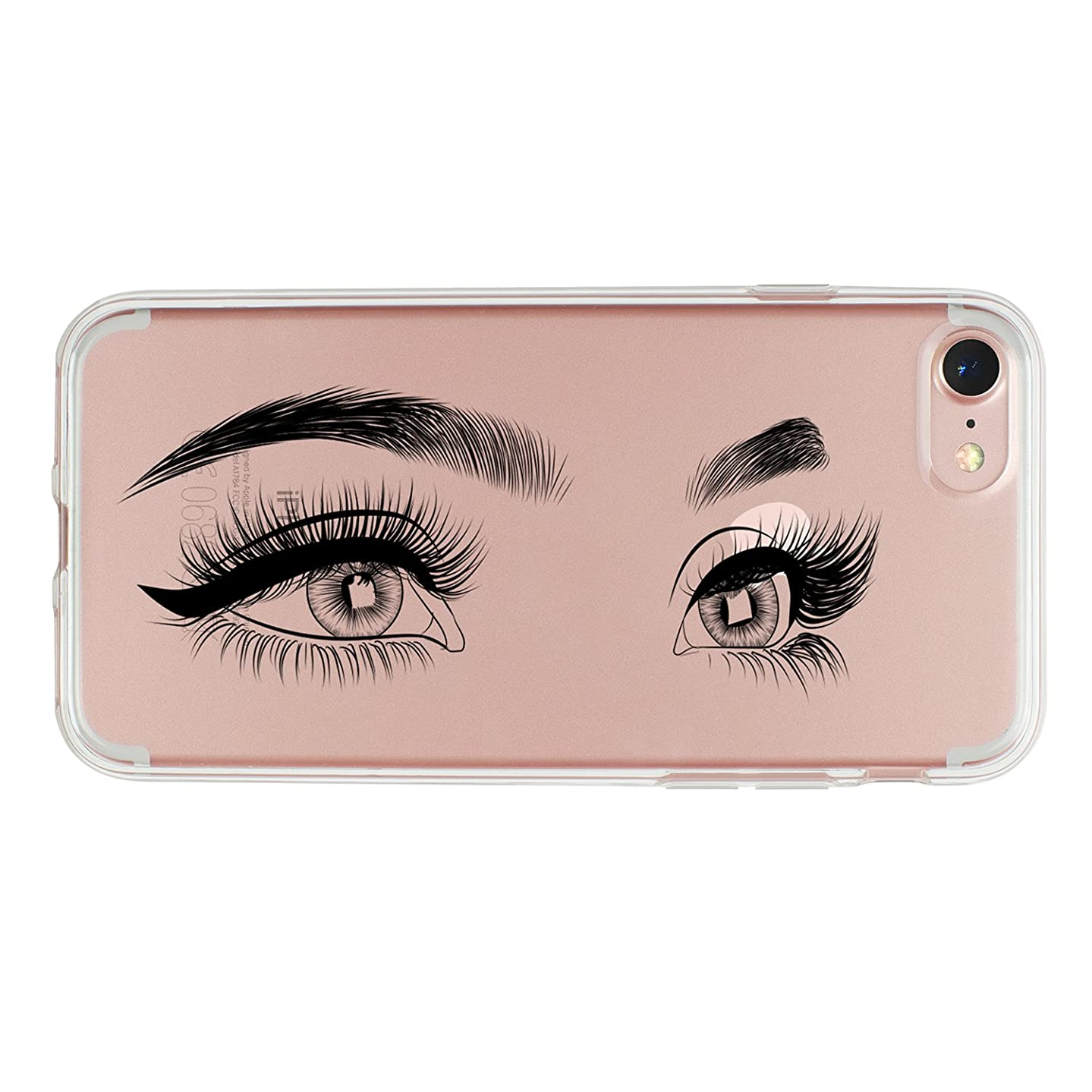 iPhone 7 Case,iPhone 8 Case,TRFAEE Charming Eyes Eyelashes Clear Shock-Absorption Bumper Anti-Scratch TPU Soft Rubber Protective Cover Case Apple iPhone 7/8