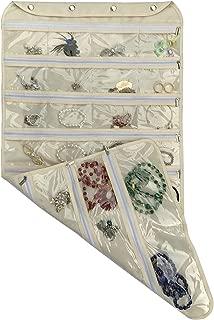 BB Brotrade Hanging Jewelry Organizer with Oxford Dual Side 56 Zippered Storage Pocket(Beige)
